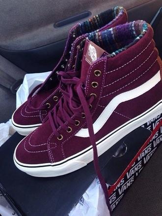 shoes vans high top sneakers suede sneakers purple shoes purple sk8 reissue vans