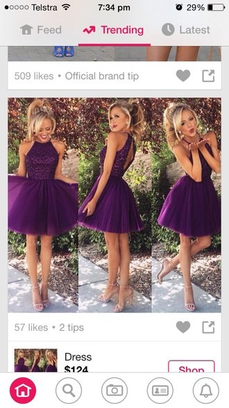 dress purple dress formal dress short purple homecoming dress party dress homecoming knee length halter top open back bridesmad prom wedding violett home accessory graduation dress cocktail dress little dress mini dress halter neck halter dress tulle dress short prom dress short formal dress semi formal dress cute prom dress bridesmaid any color lace couleur mauve sexy short dress