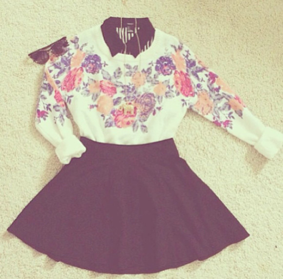 blouse white blouse flowers shirt