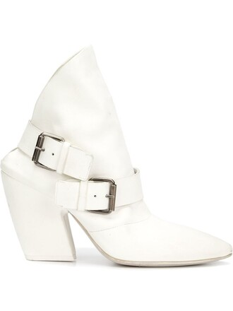 backless boots ankle boots white shoes