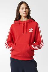Adidas 3 Stripe Hoodie Red