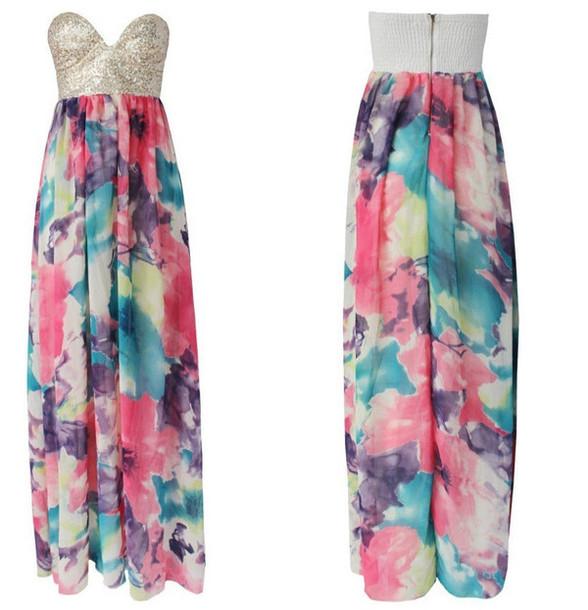 dress long dress sequins floral floral dress