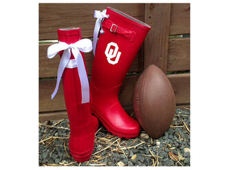 ou oklahoma city oklahoma university football ribbon rainboot