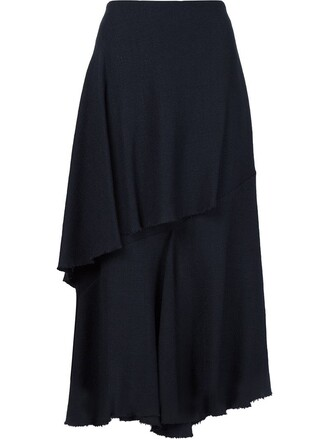skirt midi skirt ruffle midi blue