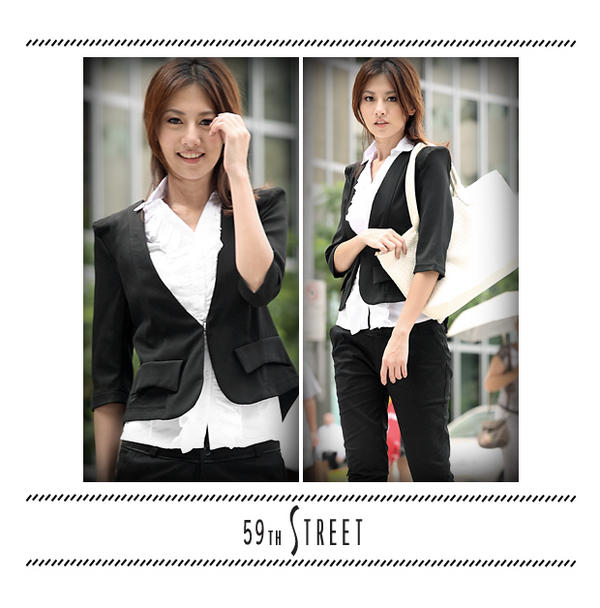 YESSTYLE Australia: 59th Street- Sharp-Shoulder Jacket (Black - One Size) - Free Express Shipping on orders over AU$150