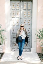 luella & june,blogger,sunglasses,jacket,sweater,jeans,shoes,bag,make-up,simon miller bag