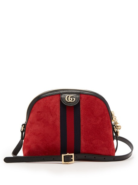 gucci cross bag suede red