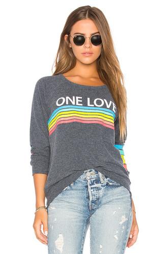 sweatshirt rainbow love blue sweater