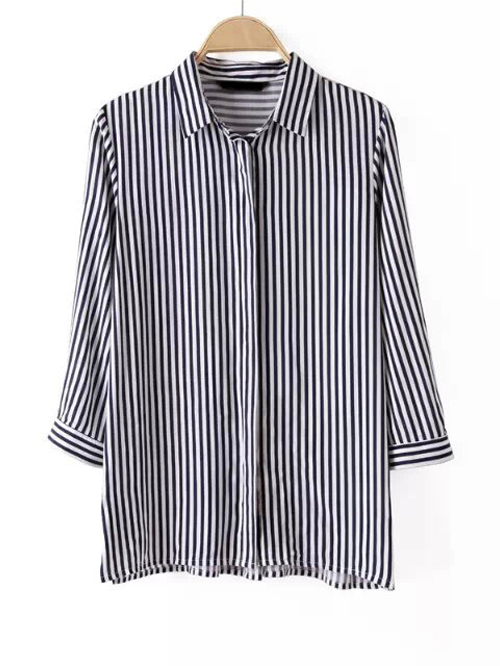 White and black vertical pinstripes single breasted casual blouse