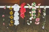 jewels,hat,flower crown,flowers,hair accessory,hair band,floral,floral headband,headband,dress