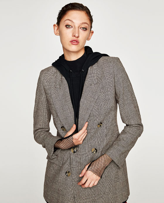 on sale 08458 eed55 CHECKED DOUBLE BREASTED JACKET - BLAZERS-WOMAN ...