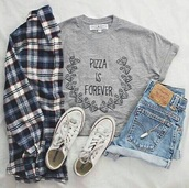 shorts,jeans,blue shorts,shirt,skirt,shoes,hair accessory,home accessory,jacket,socks,t-shirt,top,pizza,pizza is forever,grey,grey t-shirt,forever,quote on it,grey shirt,converse,fashion