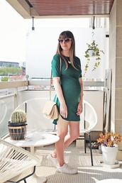 summer crush,blogger,sunglasses,jewels,dress,bag,shoes,brown sunglasses