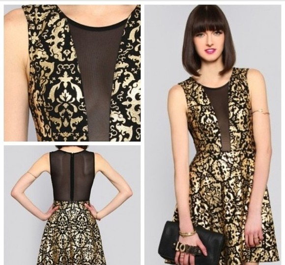 mesh dress gold lace dress gold and black gold and black lace cutouts dress bodycon black mesh cutouts mesh dress mesh back, mesh cut out, mesh