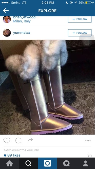 shoes boots fur uggs#uggsaustralia uggs? pink iridescent