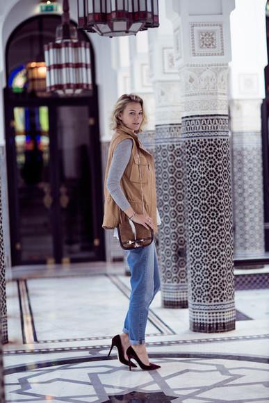 zanita blogger bag jeans jacket faux fur grey sweater