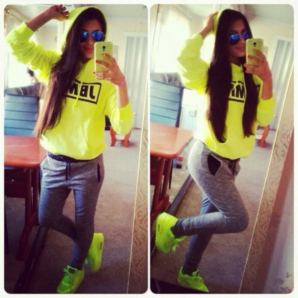 pants shoes sweater swimwear style nike air max yellow girl poster