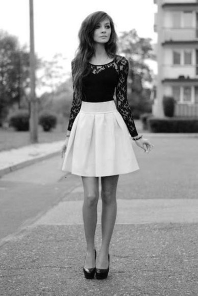 lace lace shirt black dress white skirt