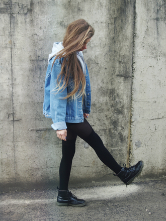 denim jacket leggings black leggings black boots