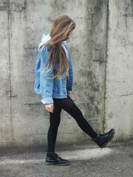 jacket denim coat denim jacket oversized shoes hooded denim jacket jeans jacket hipster boots cute tumblr dr marten boots sweater hippie long hair leggings