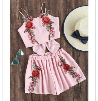 dress romper twopeice pink rose how girly roses