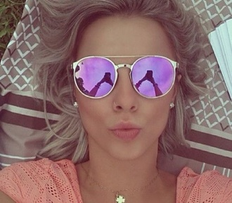 sunglasses mirrored sunglasses mirror round gold swimwear purple sunnies