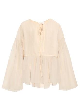 top long cotton silk nude