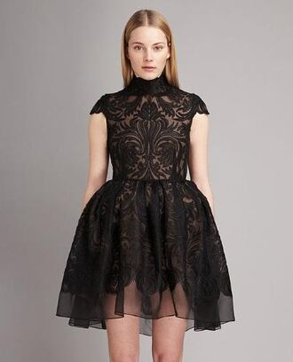 dress black lace black embroidered dress black dress little black dress high neck cap sleeves organza designer stella mccartney