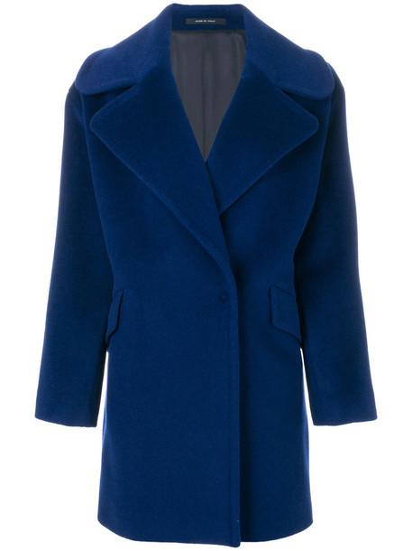 coat women midi mohair blue wool