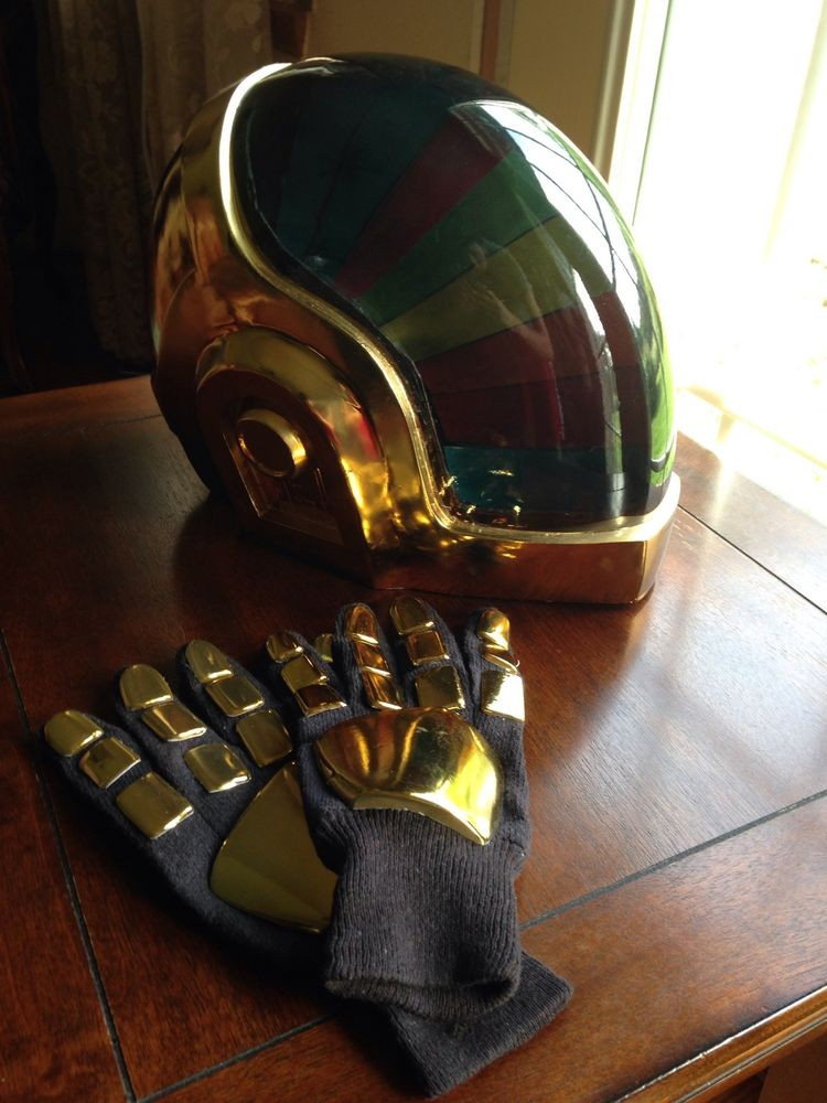 Daft Punk Guy Manuel Helmet with Gloves Chrome Finished Get Lucky RAM Era | eBay