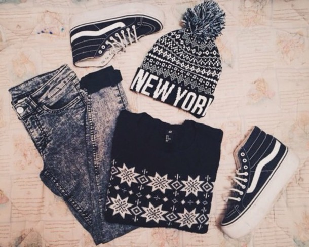 hat jeans shoes sweater