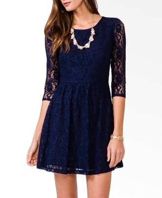 dress short dark blue lace long sleeve dress