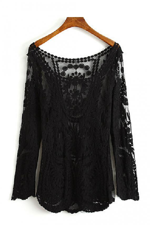 Out round neck lace long sleeve t