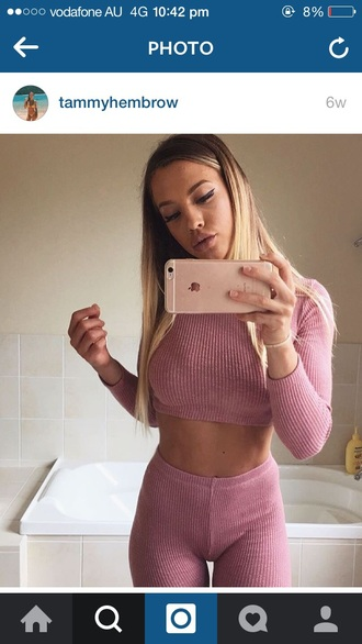 pants ribbed thermals two piece pantsuits leggings pink