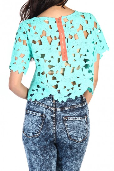 OMG Floral Lace Crop Top - Mint