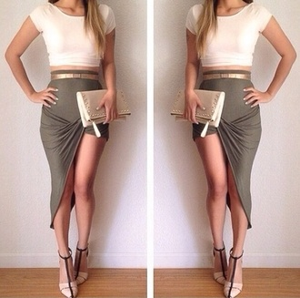 skirt maxi skirt long skirt style outfit top shoes heels clutch bag accessories girl belt green gold dress