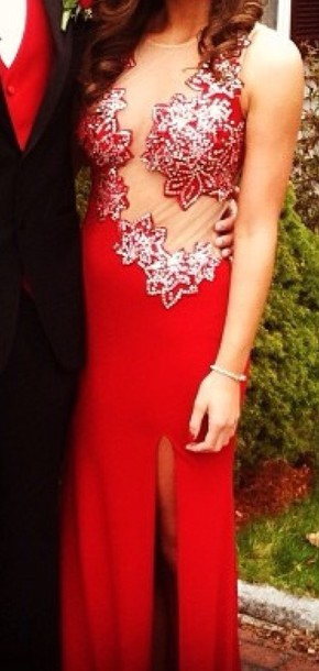 dress red dress sequin dress prom dress see through dress