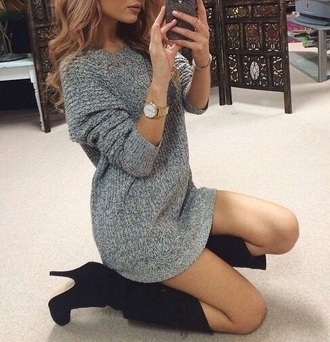 dress watch boots black grey blonde hair suede cozy curly hair cute hot style fashion fashion goals fall outfits winter outfits sweater sweater dress grey and black