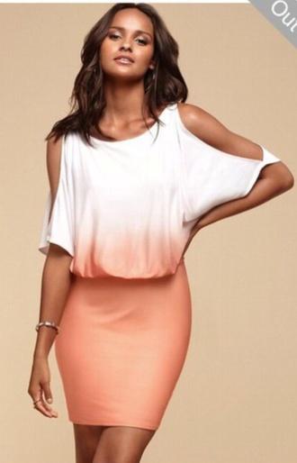 ombre dress ombre orange dress orange white dress white half top half shoulder summer dress pretty