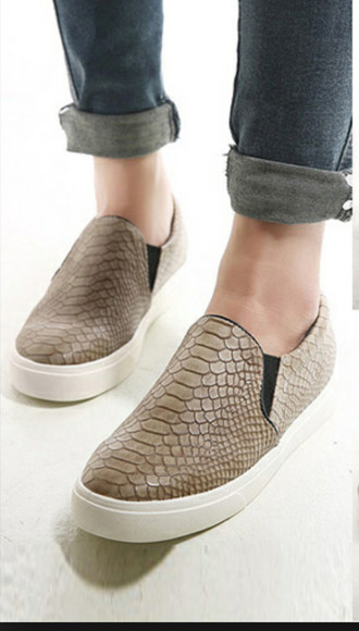 snake print sneakers faux leather beige