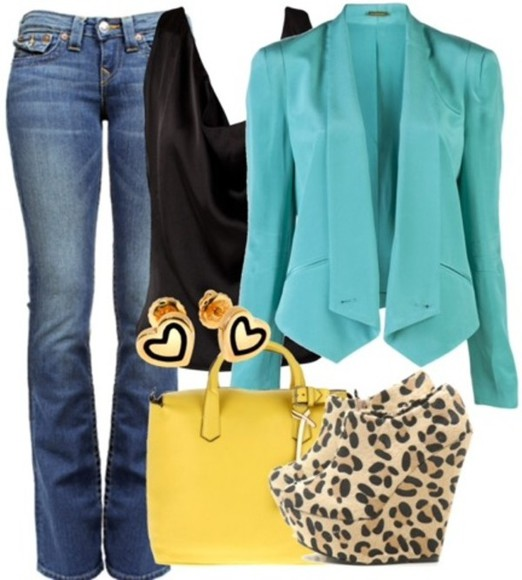 shoes bag shirt coat turquoise jeans mustard blazer bell bottoms earrings leopard print