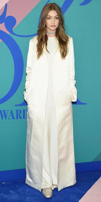 coat all white everything gigi hadid model dress maxi dress cfda choker necklace
