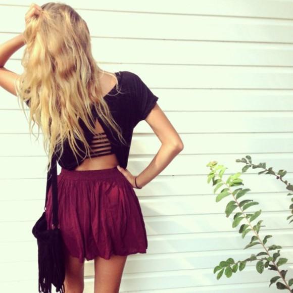 black t-shirt black shirt crop tops cut-out burgundy burgundy skirt cropped bag