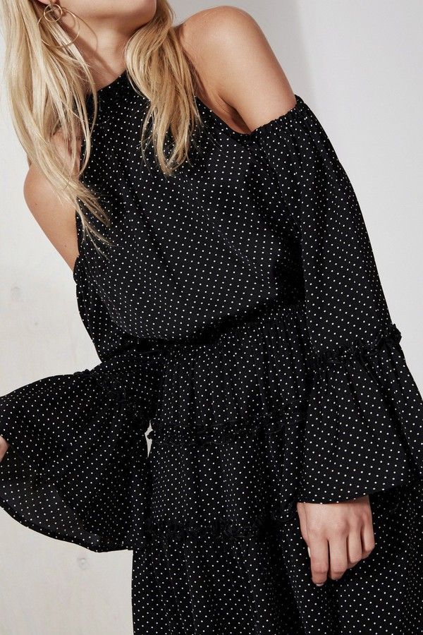 dress the fifth cmeo collective keyhole dress flowy black short flowy dress black midi dress black mini dress mini dress fall dress fall outfits bnkr off the shoulder