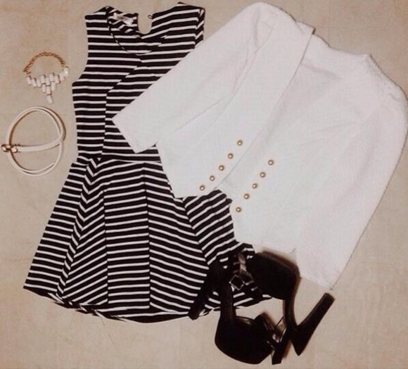 jacket dress pretty adorable cute white black white jacket