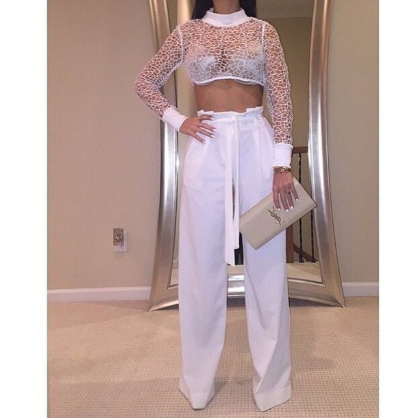 blouse white t-shirt white top white crop tops pants wide pants crop tops lace top white slacks