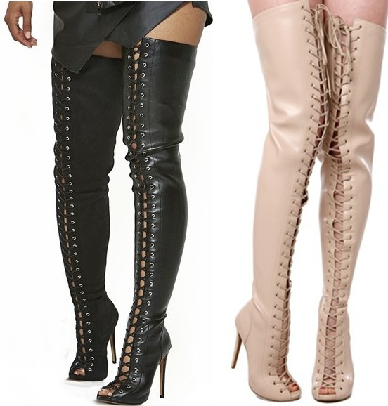 Thigh High Tie Up Boots - Cr Boot