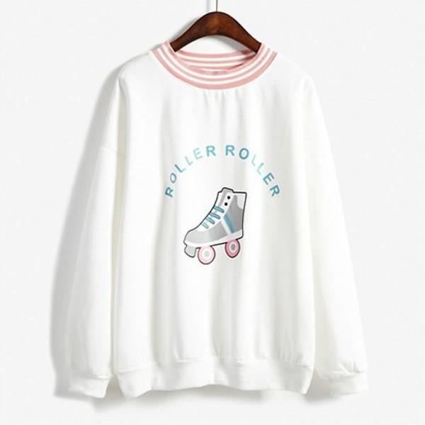 sweater summer fashion style teenagers long sleeves trendy cute kawaii boogzel white sweater