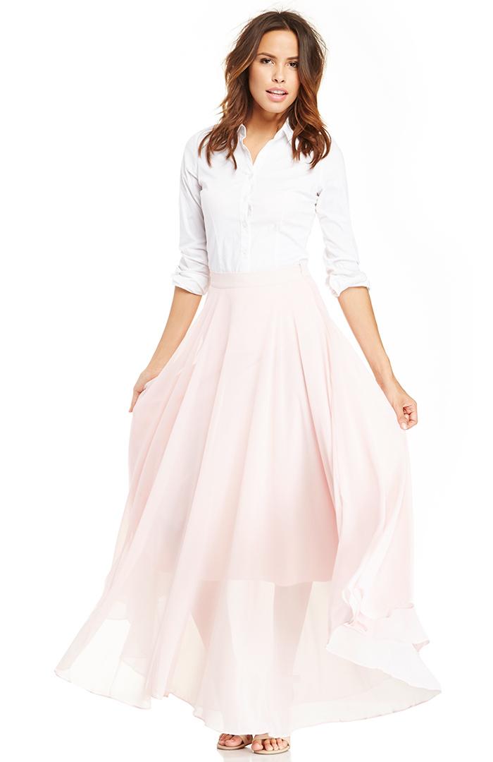 Dailylook: lucy paris chiffon maxi skirt in light pink m