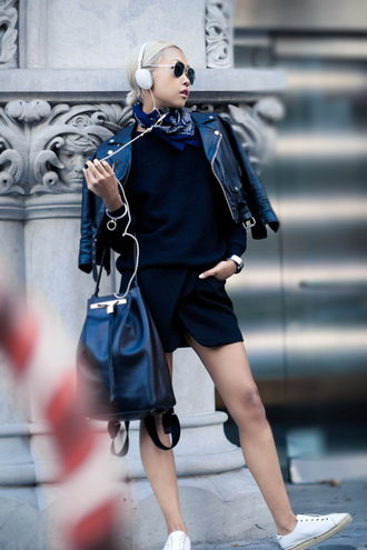 the haute pursuit blogger jacket top jewels headphones perfecto skirt leather backpack aviator sunglasses